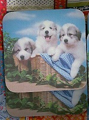 GREAT PYRENEES PUPPIES Rubber Backed Coasters #0927