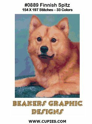 FINNISH SPITZ Counted Cross Stitch detailed #0889