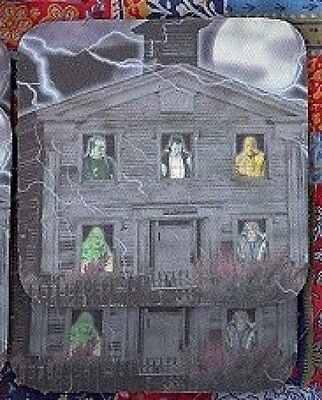 HAUNTED HOUSE HALLOWEEN Rubber Backed Coasters #0849