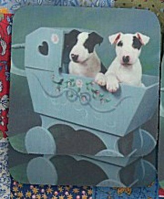 BULL TERRIER PUPPIES Rubber Backed Coasters #0928