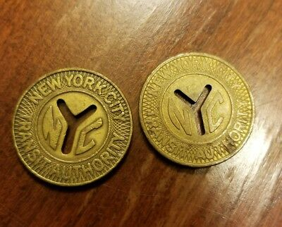 2 New York City Transit Authority Subway Tokens Large Cutout Y  DIFFERENT FONTS