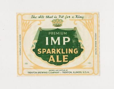1940s I-R-T-P IMP SPARKLING ALE 6oz beer label from ILLINOIS!