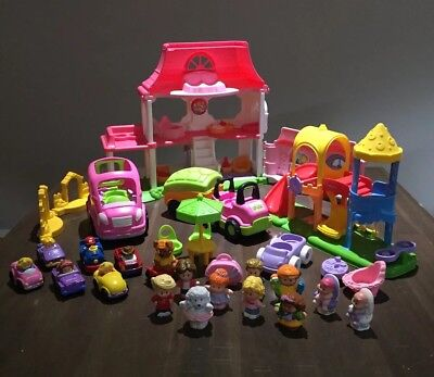 FISHER PRICE Little People Happy Sounds House, Cars, Caravan, Playground - Bulk