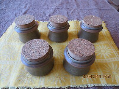 Set  of FiveTemuka  New Zealand Stoneware Pottery Spice Jars