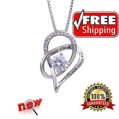 Jewelry 925 Sterling Silver Love Heart Pendant Necklace Chain Women Fashion New