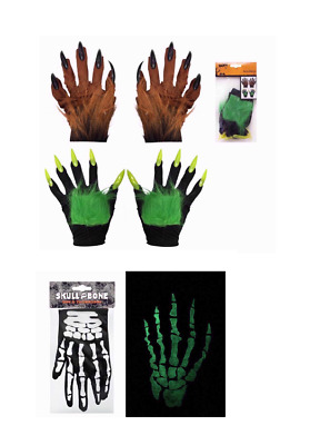Halloween Furry / Glow In The Dark  Fancy Dress Party Accessory Gloves Scary