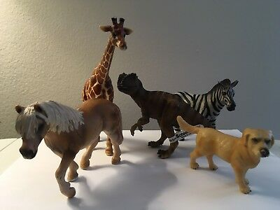 Schleich Lot of 5 Animals Giraffe/Dinosaur/Zebra/ Dog/Horse