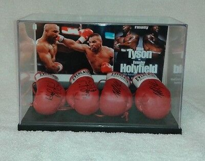 Mike Tyson Vs Evander Holyfield 4 Mini Boxing Glove  Display