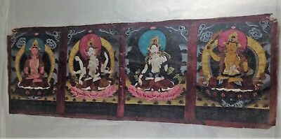 Antique Indian hand painted oil cloth of four Indian Deities