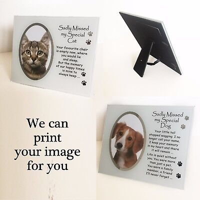Sadly Missed Cat or Dog Personalised Glass Paw Print Photo Plaque Frame Memorial