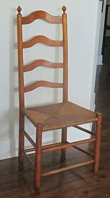 Antique Tiger Maple & Maple Slat Back Side Chair Pennsylvania Early 18th Century