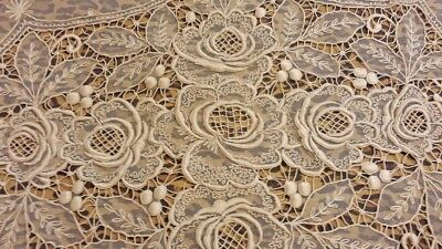 1900s Antique Tambour Lace Floral Hand Embroidered Ivory Bed Cover Full Size
