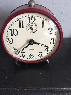 Vintage French japy Old Retro Style Alarm Clock. Vgc. In Working Order.