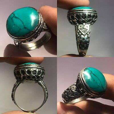 Stunning Rare Blue Turquoise Stone Silver Mix Shield Ring