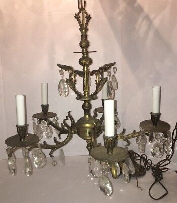 Antique Brass Chandelier With Crystals 2 Tier Patina Brass Made In Spain Vintage