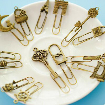 US Shipping Cute 100pcs Mini Paper Clips Cartoon Shaped Metal Bookmarks Gifts