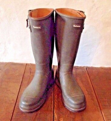 Genuine Barbour Leather Lined Field Boots / Wellingtons. Size UK 10 / EUR 44.