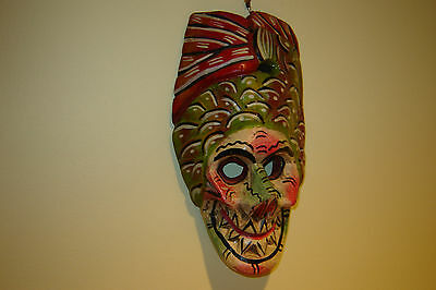 Vintage Mexican Skeletal Wooden Mask Hand Carved & Hand Painted-Very Unique !!