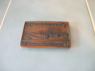 Vintage CHALMERS MOTOR COMPANY Bronze Footed Paperweight - Whitehead & Hoag MI
