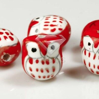 10pcs Wholesale Handmade Porcelain Owl Spacer Loose Beads 17x15mm Red PB0001