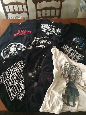 Lot of rock band tee shirts Bad Religion WCAR ghost town Miss May MCR. And more