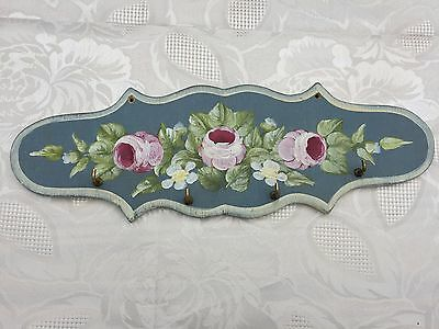 Vintage french wood painted Shabby chic Kitchen towel 4 hooks rack roses flowers