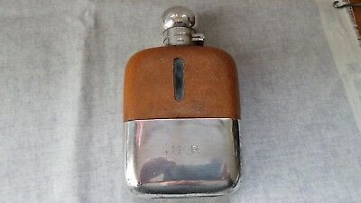 James Dixon Silver Plated and Leather  1/4 Pint Hip Flask