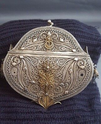 Antique Islamic Persian Ottoman Turkish Filigree Gilt Solid Silver Ladies Purse