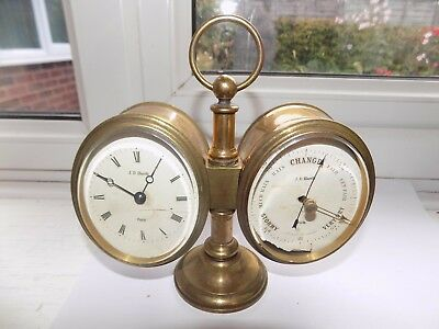 Antique J. D. Harris Paris Brass Combination Clock Barometer Platform Movement