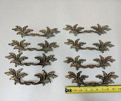 "Vintage lot 8 Brass 10"" Cabinet Drawer Handle Pulls.Dresser, French Provincial ?"