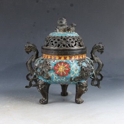 Chinese Cloisonne Hand Carved Flower Incense Burner W XuanDe Mark  EP0271