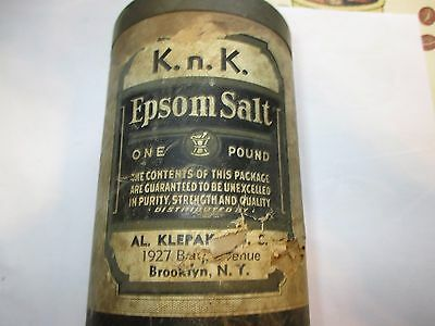 Antique Epsom Salt Canister Litho Medicine Can Vintage Drug Store Bklyn Ny