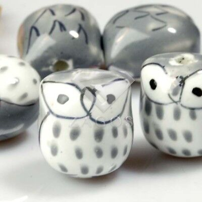 10pcs Wholesale Handmade Porcelain Owl Spacer Loose Beads 17x15mm Gray PB0005