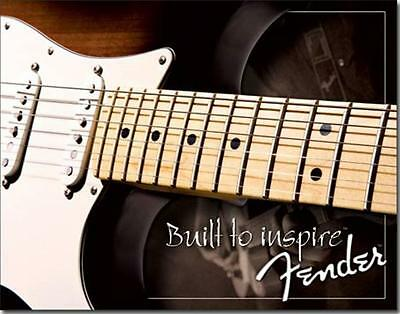 Fender Electric Guitars Built To Inspire Music Advertisement Tin Metal Sign