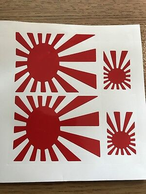 JAPANESE RISING SUN FLAG JDM  CAR STICKERS Decals Graphics SET OF 4