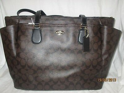 Coach Brown Coated Canvas Diaper Bag Crossbody Signature Multifunction Large