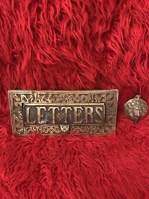 Antique Brass Letter Box And Door Knocker