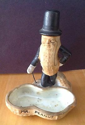Pre-1950's Mr. Peanut ,Porcelain, Pin,coin,Ashtray Made In Japan, Excellent