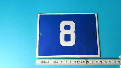 Old Vintage Door Home/House Blue Porcelain Enamel Number 8 Tin Sign Plate