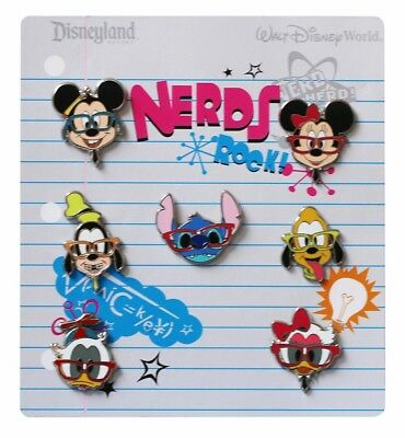 2012 Disney Nerds Rock! Head Collection Set of 7 Pins Rare W1