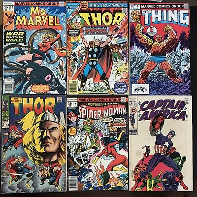Marvel Bronze Age VF Lot of 10 Ms Marvel 16 Thor Captain America Spider-Woman