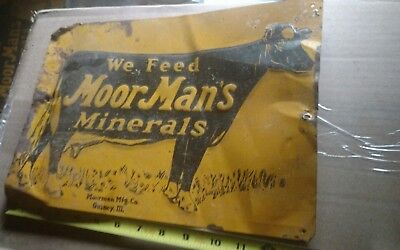 Vintage  MoorMan's Minerals Cow Cattle Feed Farm Embossed Metal Sign
