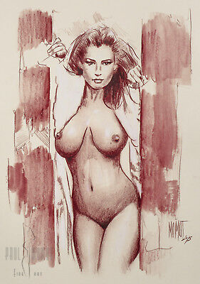 Original nude drawing by P. Momot signed, female nude 023