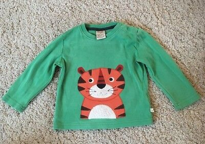 Frugi Green Long Sleeved Tiger Top. 12-18 Months. Baby Boy Girl.