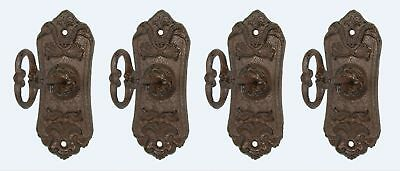 4 Antique Chic Cast Iron Decorative Wall Hooks Rustic Shabby French Coat Key Set