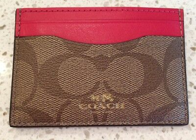 NWT F63279 Coach Card Case Sig Khaki & Bright Pink Canvas & Leather MSRP $65