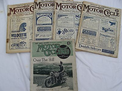 5 Vintage Motorcycle Magazines from 1919 onwards