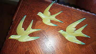 3x Lead Metal Painted Flying Swallow Bird Wall Plaque,Wall Hanging 1930'S ERA