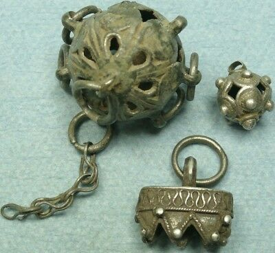 Lot Of 3 Ancient Silver Jewelry Artifacts
