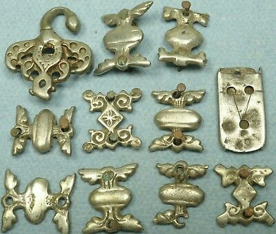 Lot Of 11 Ancient Silver Belt Mount Decorations